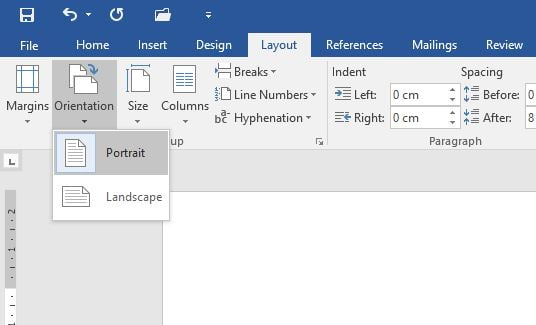 Microsoft Word Landscape Portrait