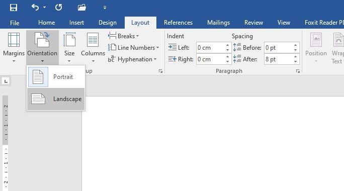 Microsoft Word Portrait Landscape